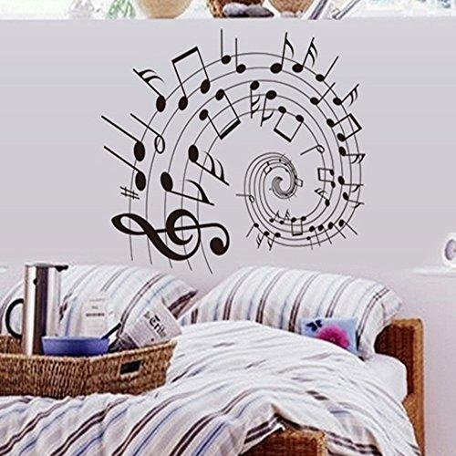 LifeUp Notes Personeel Vinyl Muurstickers Kunst Lettering Gitaar Muzikaal Instrument Rock Vinyl Muurstickers voor Kwekerij Kamer Muziekkamer Tabs Note