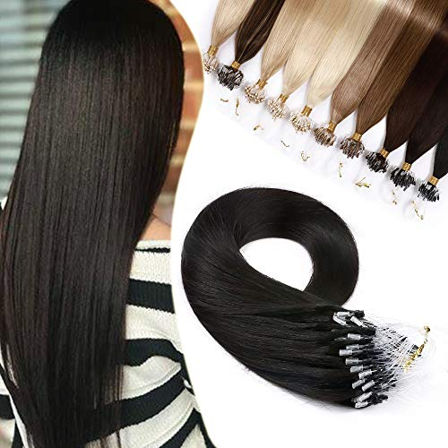 Extension Cheveux Naturel a Froid 1g Rajout Micro Anneaux Cheveux Humain - Micro Ring Loop Remy Hair Extensions 50 Mèches 50g (#1B NOIR NATUREL, 22 Pouce/55CM)