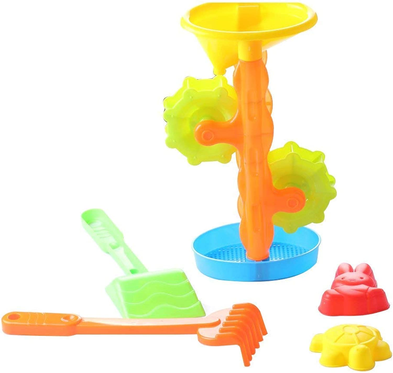 Polymer 5pcs Kids Beach Toys Set Double Sand Wheel Beach Playset with Shovel Rake and Shape Molds for Kids (Mixed colors)