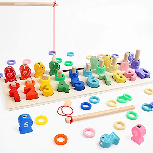 LBLA Multifunktionale Montessori Lernspielzeug, Kleinkind Angeln Spiel Spielzeug, Kinder Vorschule Mathe Sortieren Stapeln Anzahl Zählen Lernen Spiel Holzblöcke Puzzle
