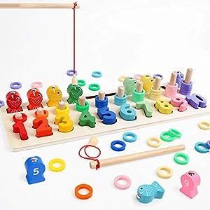LBLA Niños Puzzle de Bloques de Madera Montessori Tablero de Conteo de Números de Apilamiento de Clasificación Matemática Aprendizaje de Juguetes