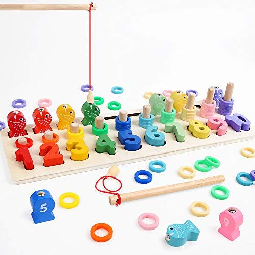 LBLA Giochi Educativi Montessori, Gioco Pesca Magnetica, Anelli impilabili in Legno per Imparare la Matematica Contare e Imparare i Colori