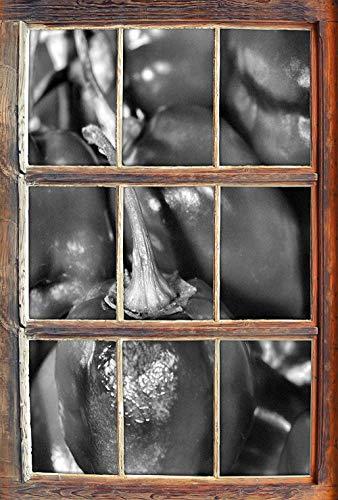 KAIASH 3D Pegatinas de Pared Monocrome pequeña Ventana de Chiles en Apariencia 3D Etiqueta de la Pared o de la Puerta Etiqueta de la Pared decoración de la Pared 92x62cm
