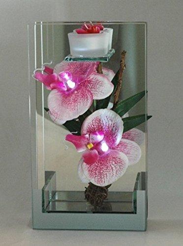 Decoratie, bloemenorchidee, roze, LED, rechthoekig, van glas met spiegel en kaars - decoratie voor thuis - LED
