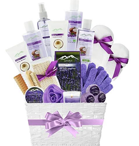 Spa Gift Basket for Women! Top Rated Beauty Gift Basket Spa Basket, Choose Lavender Spa Kit Bed Body & Bath Gift Baskets for Women! Bath Gift Set Bubble Bath Basket Body Lotion Gift Set.