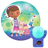 Projectables 14530 Doc McStuffins LED Plug-In Night Light, Teal and Purple, Light Sensing, Auto On/Off, Projects Disney Characters Dottie, Lambie, Hallie, and Stuffy Image on Ceiling, Wall, or Floor