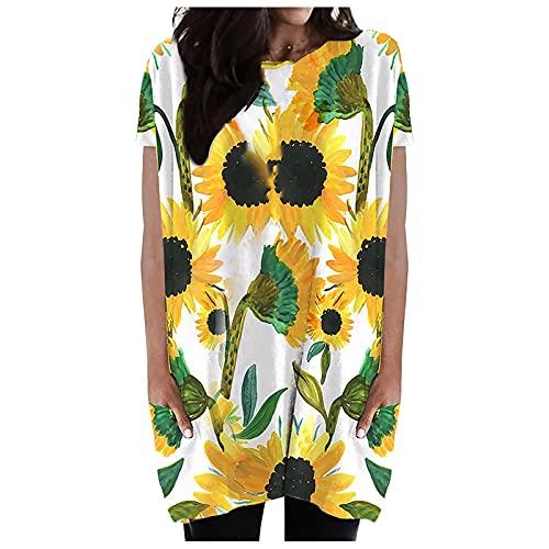 VCAOKF Camiseta básica de manga corta para mujer con cuello redondo y manga corta, estampado sin reglas, elegante, cómoda y moderna verde L