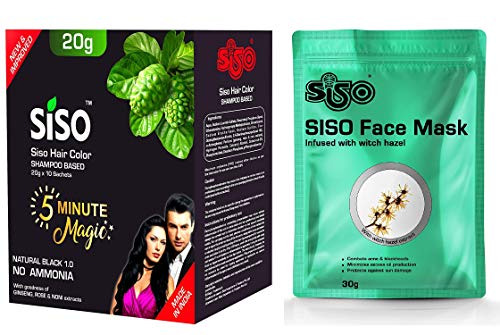 Siso 5 Minute Magic Hair Color Shampoo, 20g (Pack of 10) - Free Serum Sheet Face Mask 30gm