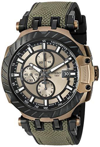 Tissot mens T-Race Stainless Steel Sport Watch Black & Khaki T1154273709100