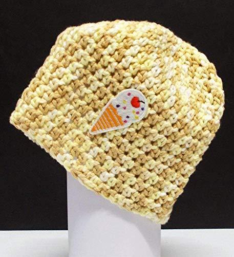 Häkelmütze, lustig, Eis, beige, Mütze, Beanie, Handarbeit, Motiv, Baumwolle, Mütze gehäkelt, Strickmütze, Damenmütze, Hut, Wolle, Strick