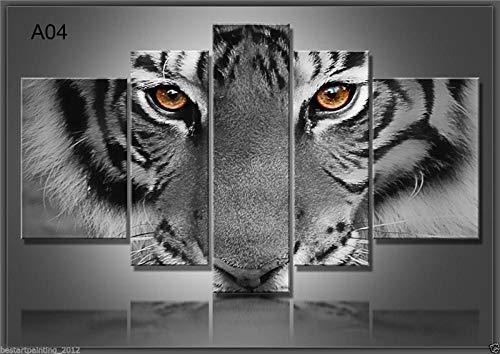DAFFG Cuadro En Lienzo - 5 Partes - Formato Grande - Impresion En Calidad Fotografica - Cuadro En Lienzo Tejido-No Tejido - Tigre Blanco Y Negro 200X100 Cm