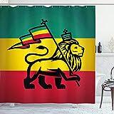 Ambesonne Rasta Shower Curtain, Judah Lion with a Rastafari Flag King Jungle Reggae Theme Art Print, Cloth Fabric Bathroom Decor Set with Hooks, 84' Long Extra, Red Yellow