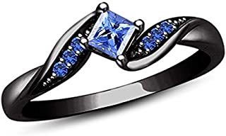 3MM TO 10MM tusakha Fancy Party Wear Princess Cut Blue Sapphire Solitaire Stud Earrings 14K Black Gold Over .925 Sterling Silver For Womens /& Girls