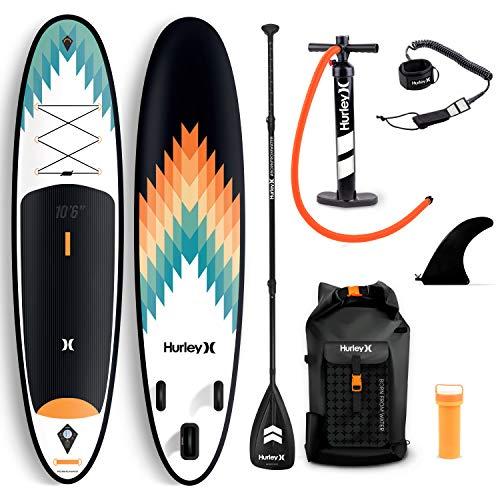 Hurley Advantage - Tabla de remo de pie con mochila, bomba de aire, pala flotante ajustable, correa en espiral, aleta y kit de reparación (exterior)