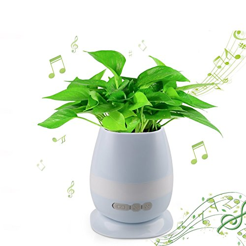 Music Flowerpot,Touch Plants Piano Music Playing Real Plant Musical Boxes with Rechargeable Bluetooth Speaker and Night Light of 7 colors for Bedroom,Office,Living Room (without Plant) Blue