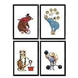 Posters con ilustraciones del circo. Forzudo Oso en bici Elefante acrobata y leon . Niños en el circo. Láminas decorativas. Tamaño A3