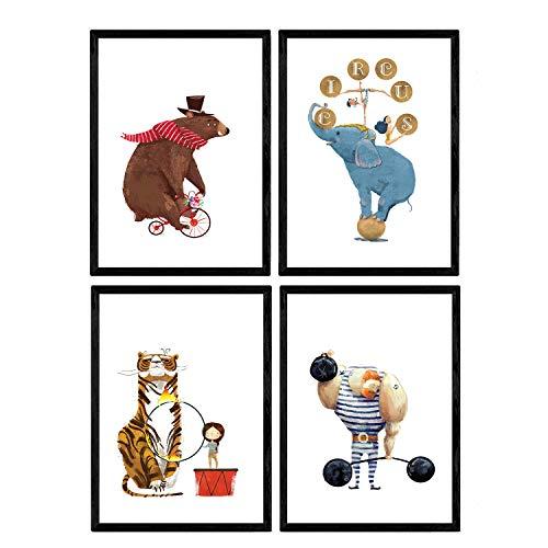 Poster Circus con illustrazioni. Strongman Orso moto acrobata e leon Elephant. I bambini al circo. piatti decorativi. formato A4