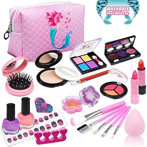 Enjoybot Kids Washable Makeup Toy Girls - 2021 Newest 21PCS Real Kids Makeup Toys ,Kids Makeup Kit for Girls, Kids Play Washable Makeup Set , Best Girl Gifts for 3/4/5/6/7year