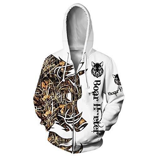 Vieryyes La Chasse au Sanglier Imprimer Hommes Femmes 3D Sweat-Shirt T-Shirt Blanc drôle de Jogging Harajuku Fermeture à glissière Manteau à Capuchon Zipper Hoodie 5 XL