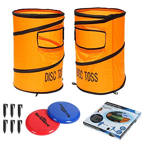Win SPORTS Folding Disc Toss Game Set - Flying Disc Toss Dunk Game Set - Includes 2 Disc Targets with Bean Bag & 2 Flying Discs & Carrying Case - Great for Backyard,BBQs,Tailgating