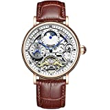 JTTM Reloj Mecánico Automático Relojes Esqueleto Reloj Hombre Mujer Piel De Vaca Marrón Analógicos Unisex Impermeable,Blanco