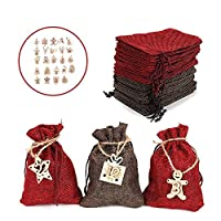 クリスマスカレンダーコットンリネンバッグ2021ギフトリネンバッグクリスマスデコレーションクリスマスギフトバッグクリスマスデコレーション用品