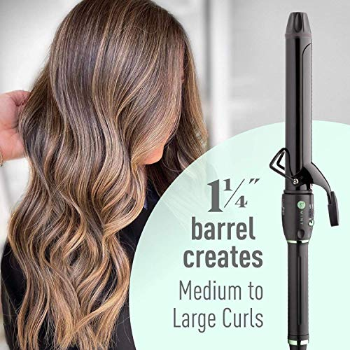 Professional Series Curling Iron 1 1/4 inch by MINT | Extra-Long 2-Heater Ceramic Barrel That Stays Hot. Hair Curler / Curl Former for Medium to Large Curls. Travel-Ready Dual Voltage.
