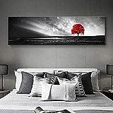 Rumlly Cuadro de impresión HD en Blanco y Negro árbol Rojo Cuadros Paisaje Lienzo Arte de Pared decoración del hogar para Sala de Estar Imagen de Pared 50x150cm sin Marco