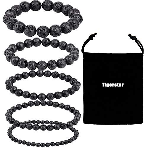 Natural Lava Rock Beads Bracelet 5PCS Set,Tigerstar Stretch Elastic Bracelet Gemstone Essential Oil Diffuser Bracelet Stretch Yoga Beaded Bangle Healing Energy Cuff for Men,Women and Kids
