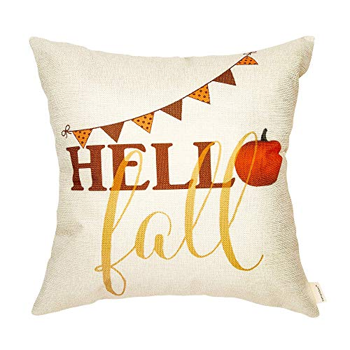 ETWJ Hello Fall Pumpkin Seasonal Sign Thanksgiving Day Gift Cotton Linen Home Decorative Throw Pillow Case Cushion Cover with Words for Sofa Couch 18' x 18'