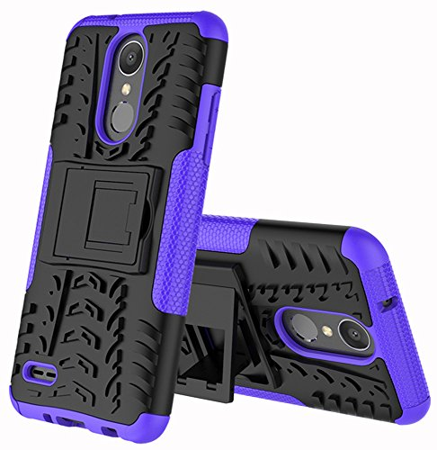 LG Zone 4 Case,LG Aristo 2/3, LG Phoenix 4, LG Tribute Empire/Tribute Dynasty,LG Fortune 2,LG Risio 3,LG K8 (2018) Case,Yiakeng Wallet Hard Protective Flip Phone Cases with A Kickstand (Purple)