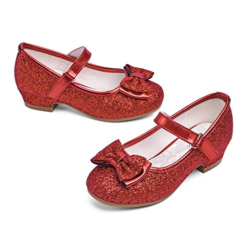 STELLE Girls Mary Jane Glitter Shoes Low Heel Princess Flower Wedding Party Dress Pump Shoes for Kids Toddler(Red, 8MT)