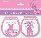 Unique Party 49491 - Blocco Note Rosa Ballerina per Buste Regalo, Confezione da 8