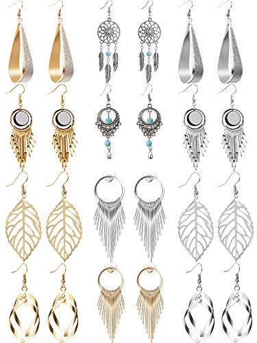 12 Pairs Drop Dangle Earrings Golden Silvery Fashion Jewelry Fringed Tassel Character Exaggerated Earrings Set for Women Girls (Style A)