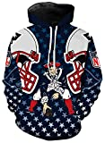 AFDLT Rugby Jersey,NFL New England Patriots Football Sweat-Shirts,Femmes Casual Veste,Hommes 3D Impression Chandail,Blue,5XL