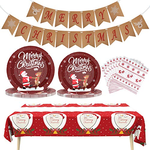 Christmas Decorations Christmas Paper Plates Christmas Party Supplies Disposable Dinnerware Set Includes Christmas Tablecloth, Napkins and Merry Christmas Banner for Christmas Ornaments, Serves 24