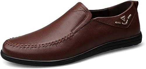 XHD-Chaussures Talons Plats Simples à la la Mode pour Hommes, à Talons Plats, à Lacets, Chaussures de Couleur Unie en Peau de Vache (Couleur   Marron, Taille   46 EU)  gros pas cher