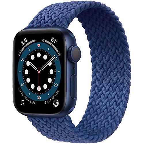 JONWIN Geflochtenes Solo Loop Kompatibel mit Apple Watch Armband 42mm 44mm,Dehnbare Verflochtenen Silikonfasern Sport Ersatzband für Nylon Band für iWatch Serie 6/5/4/3/2/1,SE,Damen,Herren,Blue,7#
