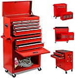 8-Drawer Big Rolling Tool Chest Organizers,Removable Tool Storage Cabinet and Top Chest with Drawers and Lock,Portable Tool Box with Wheels for Warehouse,Garage,Repair Shop (Red)