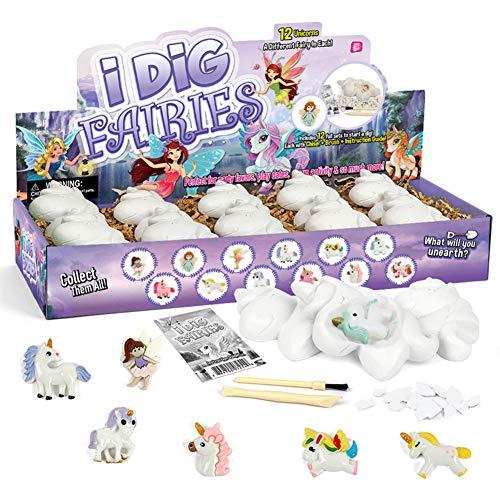 PowerKing Kit di scavo -12 Giocattoli di scavo di unicorni con Set di Strumenti di scavo minerario, Giocattolo STEM per attività di Festa per Bambini a Natale/Ringraziamento/Compleanno/Pasqua