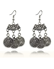 Bohemian Style Ethnic Tribal Coin Statement Dangle Drop Earrings 3275