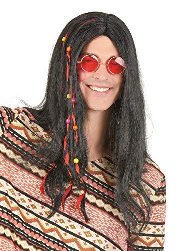 DEGUISE TOI - Perruque Hippie Noire Homme - Taille Unique
