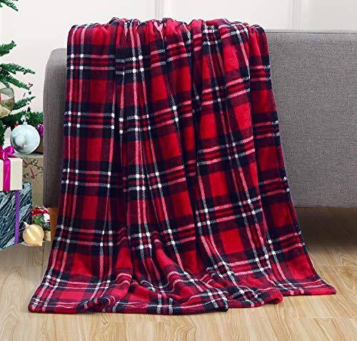 Elegant Comfort Velvet Touch Ultra Plush Christmas Holiday Printed Fleece Throw/Blanket-50 x 60inch, (Plaid)