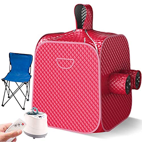 ATGTAOS Steam Pot at Home Sauna with Remote Control, 2.6L Steamer with Folding Chair, Increase Steamer, Lightweight Tent, Two Person Full Body Spa for Weight Loss Detox Therapy,Red