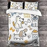 BROWCIN Juego de Sábanas Dog Lover Bons Food Dibujos animados Doodle colorido Patrón de perros y palabras Juego de Funda nórdica y Funda de Almohada(240*260cm)cierre de cremallera con lazos de esquina