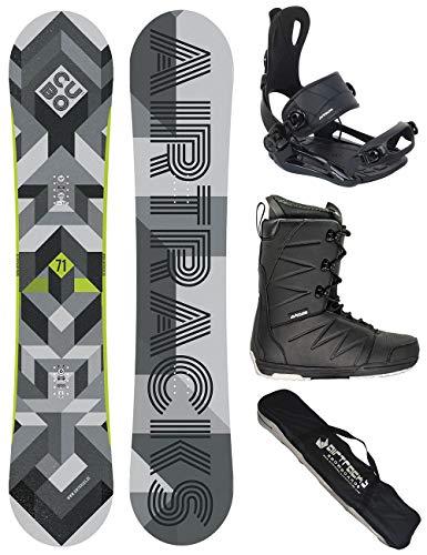 Airtracks Snowboard Set/Board Cubo Wide 159 + Snowboard Bindung Master + Boots Master QL 47 + Sb Bag