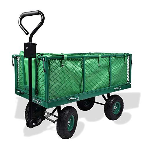 Carrello da giardino porta attrezzi con rimorchio a spinta in metallo inossidabile, telone impermeabile e griglia - Carriola da giardino a 4 ruote con portata max 550KG