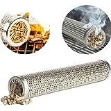 Generador de humo de barbacoa de acero inoxidable perforado de Pellet Smoker Tube para agregar sabor a humo a los alimentos a la parrilla, para acampar al aire libre o una fiesta,Round