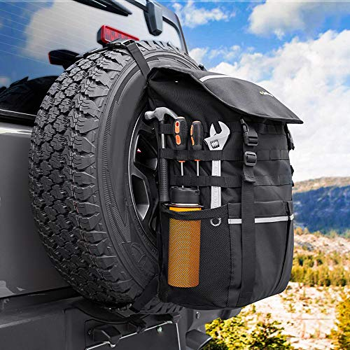 Spare Tire Trash Bag, JoyTutus Large Capacity Spare Tire Bag Compatible with Wrangler JK JKU YJ TJ Cargo Storage Bag Camping Gear for Trucks, SUV, Off-Road Recovery Gear, Multi-Pockets Backpack