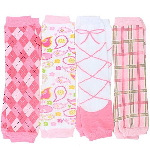 juDanzy Newborn 4-pack Baby Leg Warmers (Newborn- 12 pounds) (Preppy Girl)